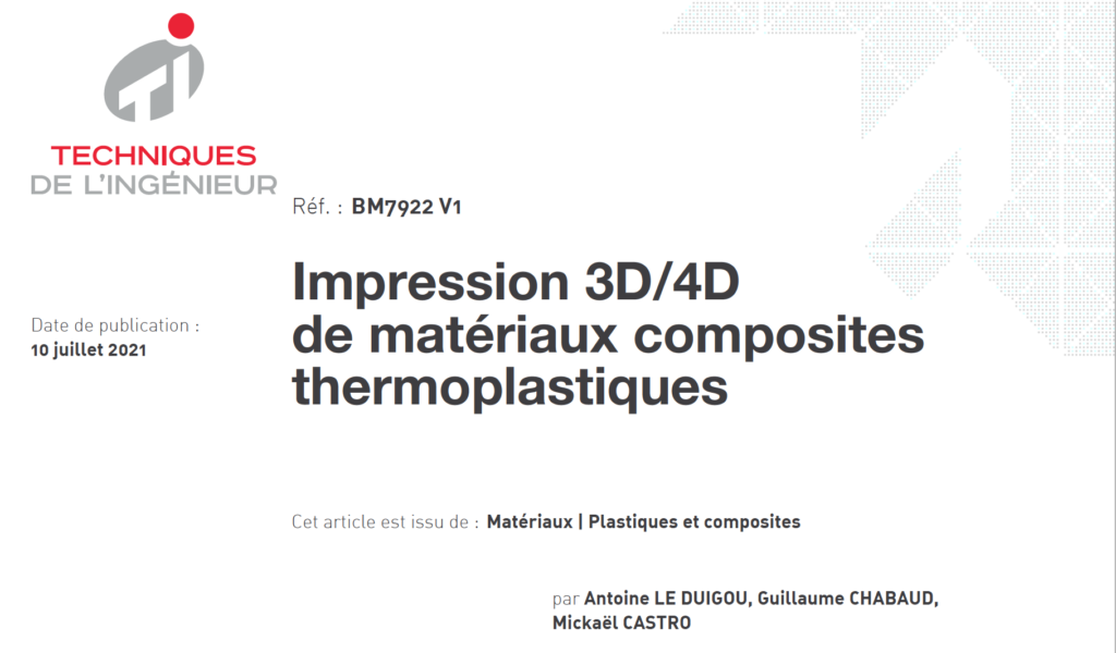 Impression 3D/4D de matériaux composites thermoplastiques - Réf. : BM7922 V1